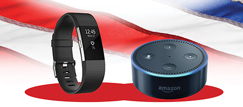 Fitbit Charge 2 and Amazon Echo Dot
