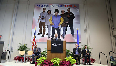 Fisk Johnson, chairman and CEO of SC Johnson, is pictured speaking at the grand opening center of the SC Johnson integrated Manufacturing and Engineering Technology Center.