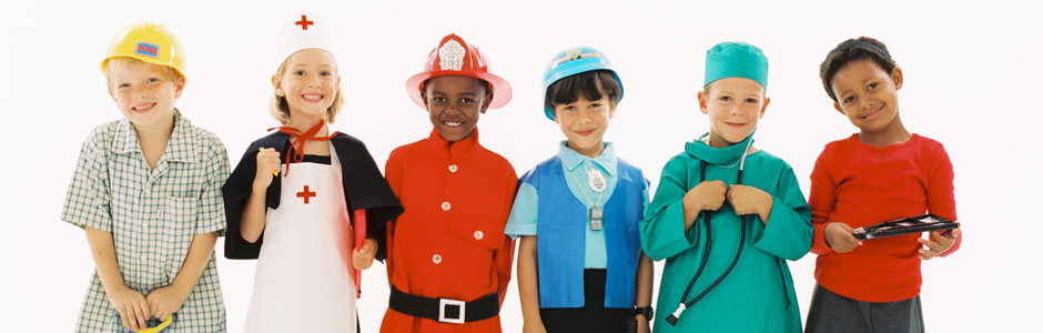 Kids dressed in uniforms from varying professions.