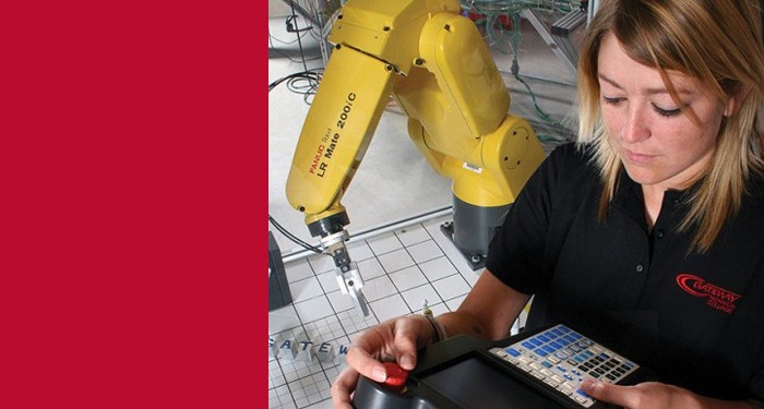 Student with robotic arm