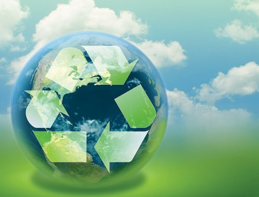 Globe with recycle symbol