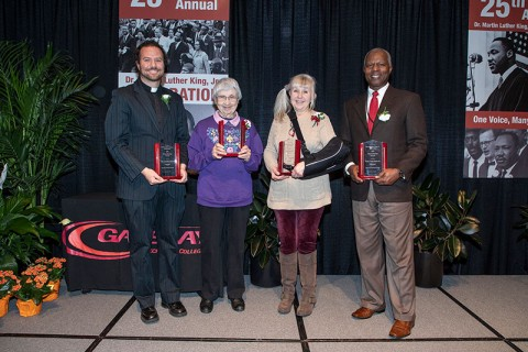 Gateway Technical College Dr. Martin Luther King Jr. Humanitarians were honored at the college's Dr. Martin Luther King Jr. Celebration on Monday: (l-r) Rev. Jonathan Barker (Kenosha); Betty Brenneman (Racine); Karen Kempinen (Kenosha) and Pastor Leon Brown (Racine).