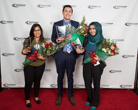 Gateway Star Ambassadors (left to right): Monserrat Padilla, Ryan Bognar, Manal Nabeel