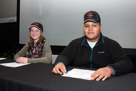 Pictured at the signing event are (l-r): Jamie Strey, Elkhorn Area High School; Jose Santos, JI Case High School, Racine.