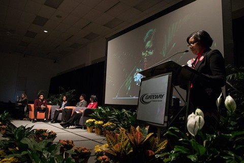 Moderator Adelene Greene poses a question to panelists during a discussion of whether Dr. Martin Luther King's dream is alive and well today, during Gateway Technical College's 24th Annual Dr. Martin Luther King Jr. Celebration.