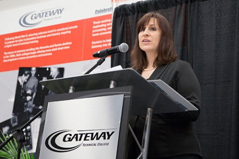Scholarship award winner and Gateway student Amy Crum delivers some prepared remarks at the college's annual Gateway Technical College Foundation awards ceremony held on the Kenosha Campus.