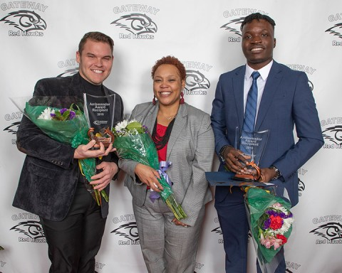 Gateway's newest Star Ambassadors are, (l-r) Joseph Wilber, Angela Haney, Josua Ataansuyi. Haney was also named the college's District Star Ambassador.