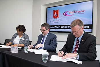 l-r, Gateway Technical College Executive Vice President/Provost Zina Haywood, Carthage College Provost David Garcia, Gateway Technical College President and CEO Bryan Albrecht.