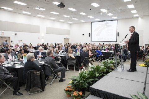 Gateway Technical College President and CEO Bryan Albrecht talks about the impact the Gateway Foundation has on students at the annual Foundation awards ceremony, held Feb. 3 on the Kenosha Campus.