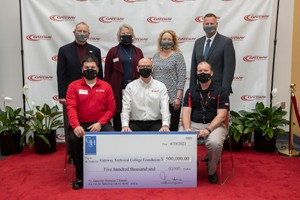 Haas presents donation to Gateway