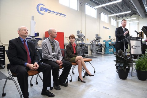 Gateway Technical College president and CEO Bryan Albrecht spoke at the event. (l-r) Mike Reader, president and CEO of Precision Plus; Ben McFarland, Gateway instructor and manufacturing programs chair; and Rebecca Kleefisch, Wisconsin Lt. Governor.