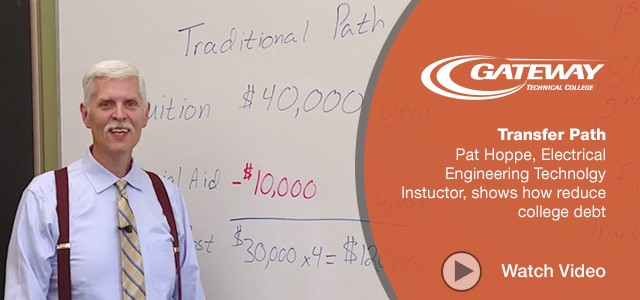 Pat Hoppe, Electrical Engineering Technolgy Instuctor, shows how reduce college debt. Watch video.